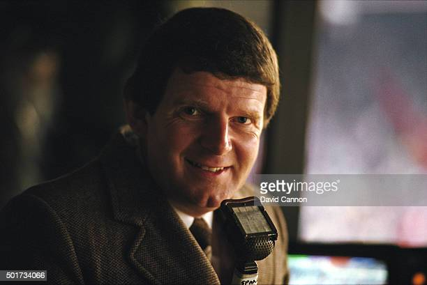 BBC television Commentator John Motson pictured before an FA Cup tie between Manchester United and West Ham United at Old Trafford on March 9 1985 in...