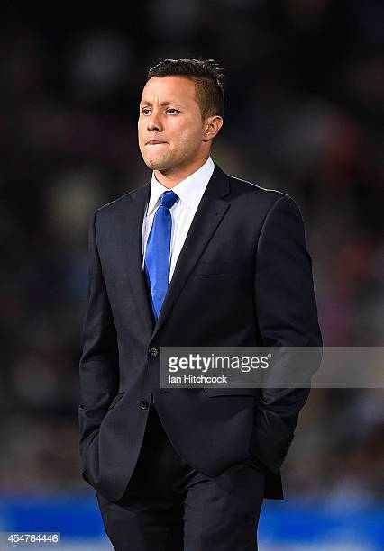 Television commentator Scott Prince looks on before the start of the round 26 NRL match between the North Queensland Cowboys and the Manly Sea Eagles...