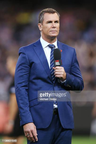 Television commentator Wayne Carey is seen during the AFL Round match between Richmond v Collingwood at Melbourne Cricket Ground on March 28 2019 in...