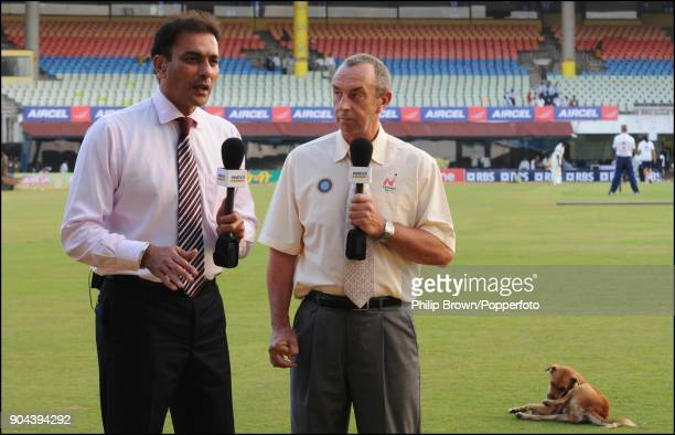 Television commentators and former cricketers Ravi Shastri and David Lloyd discussing the day's play during the 1st Test match between India and...