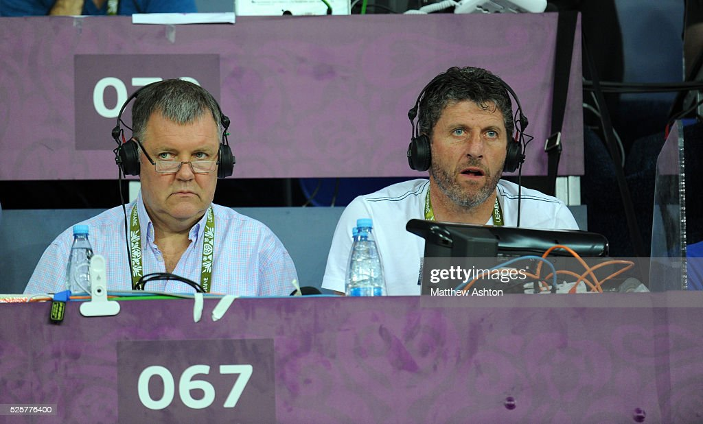 Television commentators Clive Tyldesley and Andy Townsend working for ITV from the United Kingdom - England at Euro 2012