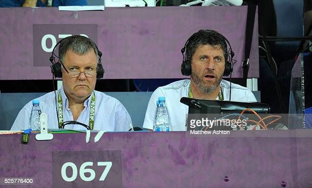 Television commentators Clive Tyldesley and Andy Townsend working for ITV from the United Kingdom England at Euro 2012
