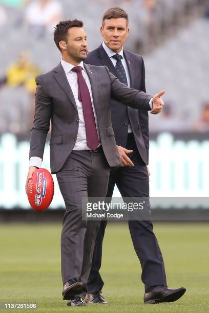 Television commentators James Bartel and Matthew Richardson are seen during the round one AFL match between the Carlton Blues and the Richmond Tigers...