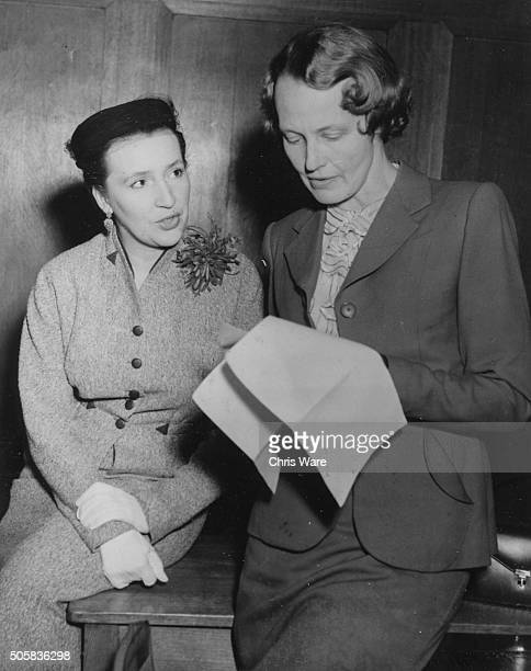 BBC television commentators Jean Metcalfe and Audrey Russell who will take part in the Queen's Coronation broadcasts pictured a Broadcasting House in...