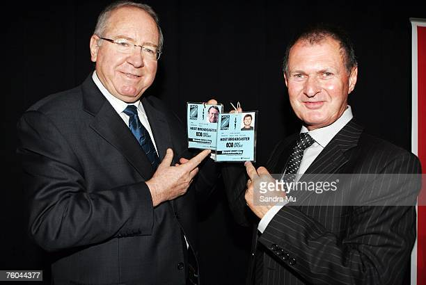 Television commentators Keith Quinn and John MacBeth hold their accreditation from the 1987 World Cup during a reunion luncheon for members of the...