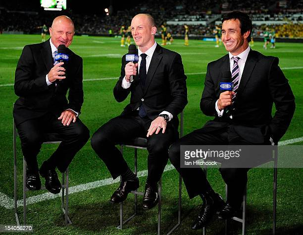Television commentators Peter Sterling Darren Lockyer and Andrew Johns do a piece to camera before the start of the International Test match between...