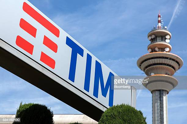 Television communications tower stands inside the headquarters of Telecom Italia SpA in Rozzano, near Milan, Italy, on Wednesday May 25, 2016....