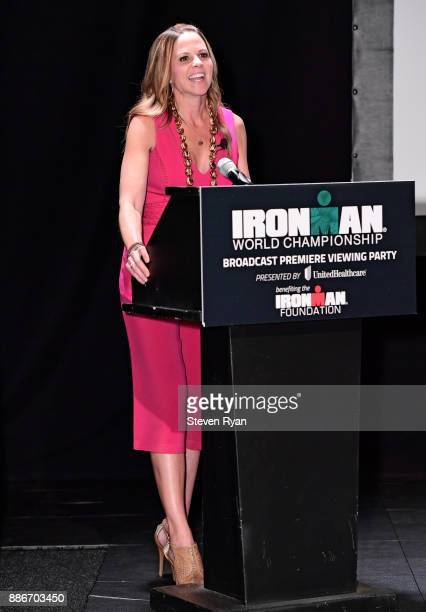 Television correspondent Shannon Spake speaks during the IRONMAN World Championship Broadcast Premiere at New World Stages on December 5 2017 in New...