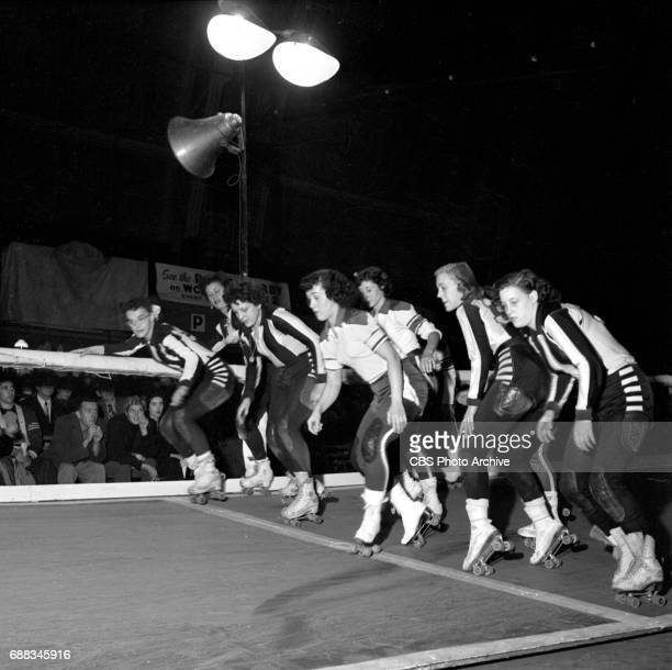 Television coverage of Roller Derby at the 69th Regiment Armory at Lexington Avenue and East 26th Street, New York, NY. Image dated November 3, 1951.