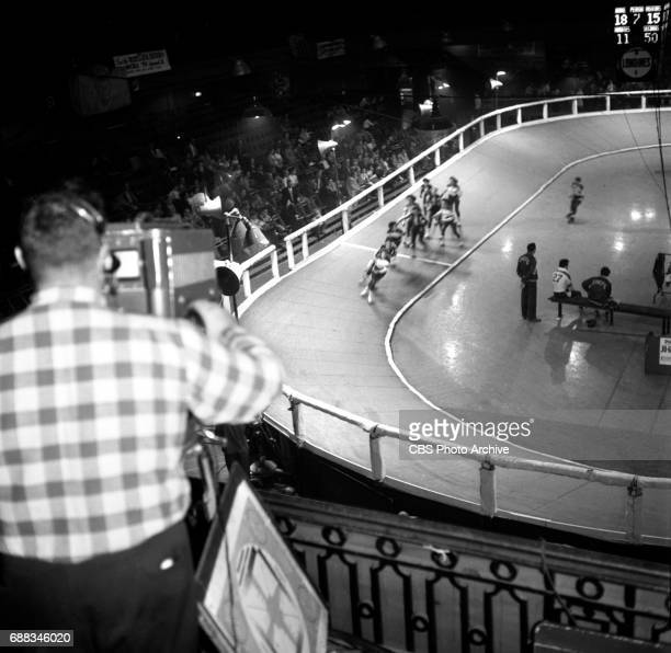 CBS television coverage of Roller Derby at the 69th Regiment Armory at Lexington Avenue and East 26th Street New York NY Image dated November 3 1951