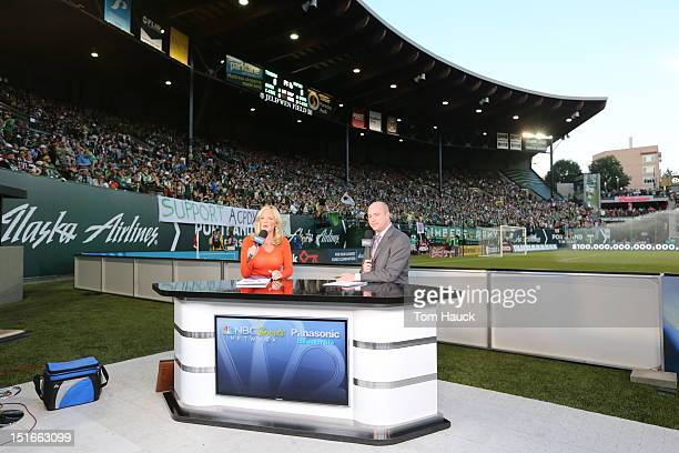 NBC television crew on the field before the Portland Timbers against the Colorado Rapids on August 31 2012 at JeldWen Field in Portland Oregon