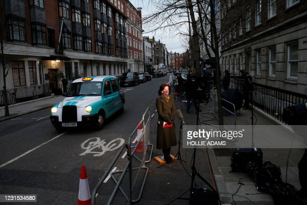 Television crew set up their equipment opposite King Edward VII's Hospital, in central London on March 5 where Britain's Prince Philip, Duke of...