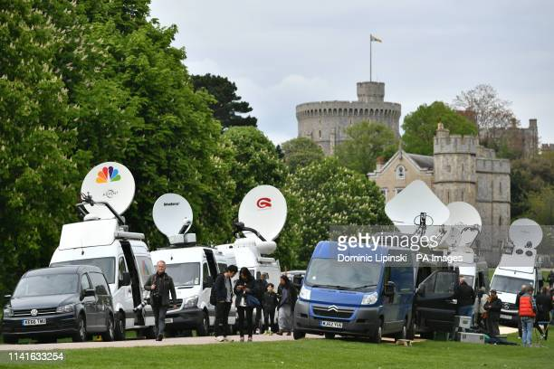 Television crews at work outside Windsor Castle following the news of the birth of the Duke and Duchess of Sussex's new baby boy.