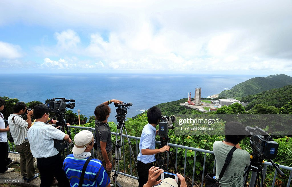 Television crews film the Japan Aerospace Exploration Agency (JAXA)'s Epsilon Vehicle (Epsilon-1) on the launch pad at the JAXA Uchinoura Space Center on August 20, 2013 in Kimotsuki, Kagoshima, Japan. The rocket carrying a satellite 'SPRINT-A', which will observe planets of solar system, is scheduled to launch on August 27.