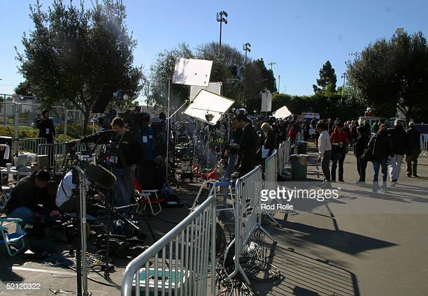 Television crews from around the world set up in the media area to cover the Michael Jackson trial at the Santa Barbara Superior Courthouse on the...