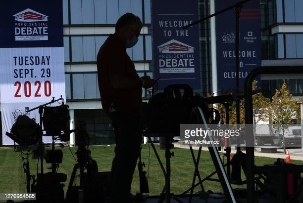 Television crews prepare for the first presidential debate between US President Donald Trump and Democratic presidential nominee Joe Biden at Case...