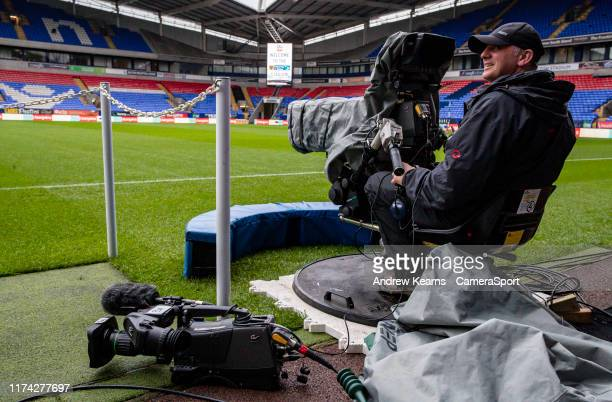 Television crews prepare prematch at the University of Bolton stadium during the Sky Bet League One match between Bolton Wanderers and Blackpool at...