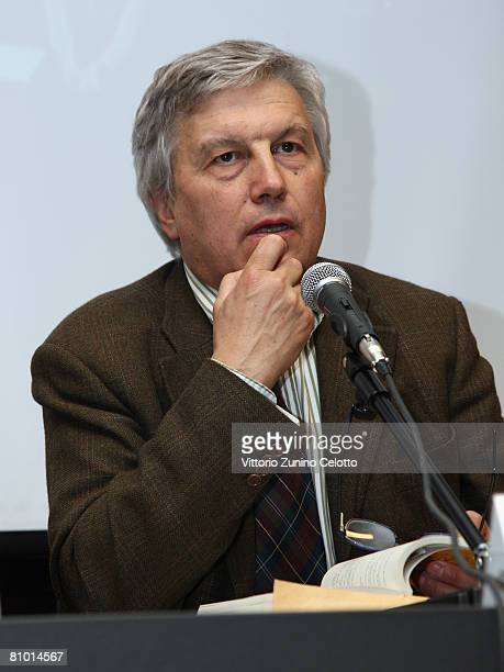 Television critic Aldo Grasso attends a press conference during the 2008 Telefilm Festival held at Cattolica del Sacro Cuore University on May 07...