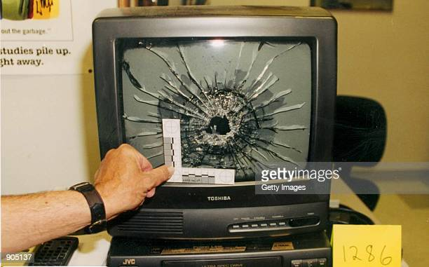 A television damaged by gunfire in Columbine High Library during the Columbine High School massacre April 20 1999 in Littleton CO The photographs of...