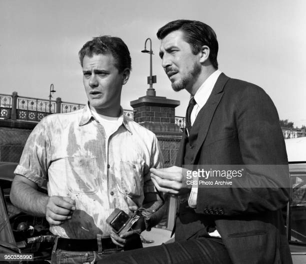 CBS television detective drama series Diagnosis Unknown Episode The Case of the Radiant Wine originally broadcast July 5 1960 Pictured from left is...