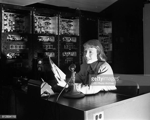 Television director Frances Buss in control room at 15 Vanderbilt Avenue the CBS studios at Grand Central Terminal Image dated March 26 1947