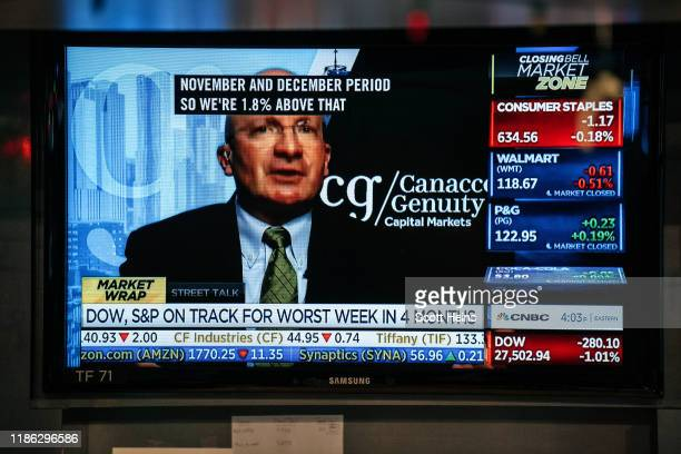 Television displays share prices on the floor of the New York Stock Exchange on December 3, 2019 in New York City. The Dow Jones Industrial Average...