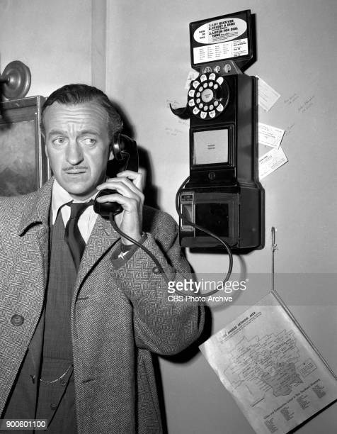 CBS television dramatic anthology program Four Star Playhouse production of episode To Whom It May Concern Seen here series regular David Niven Los...