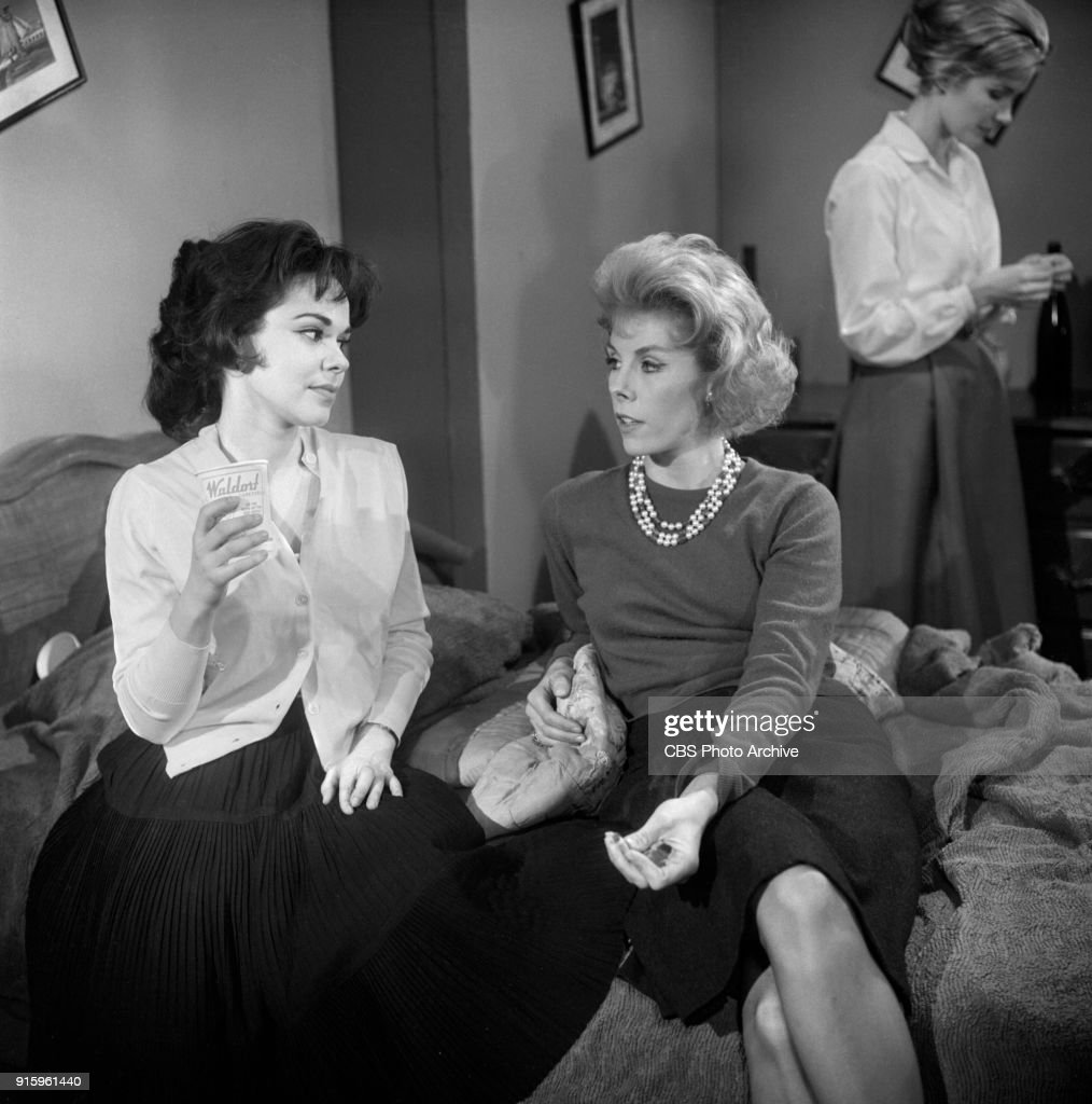CBS television dramatic anthology series, Buick Electra Playhouse features a television adaptation of Ernest Hemingways The Fifth Column. Pictured from left is Elisa Loti (as Anita), Betsy von Furstenberg (as Dorothy Fisher), Sally Ann Howes (as Dorothy Bridges). Image dated January 11, 1960. New York, NY. Originally broadcast January 29, 1960.