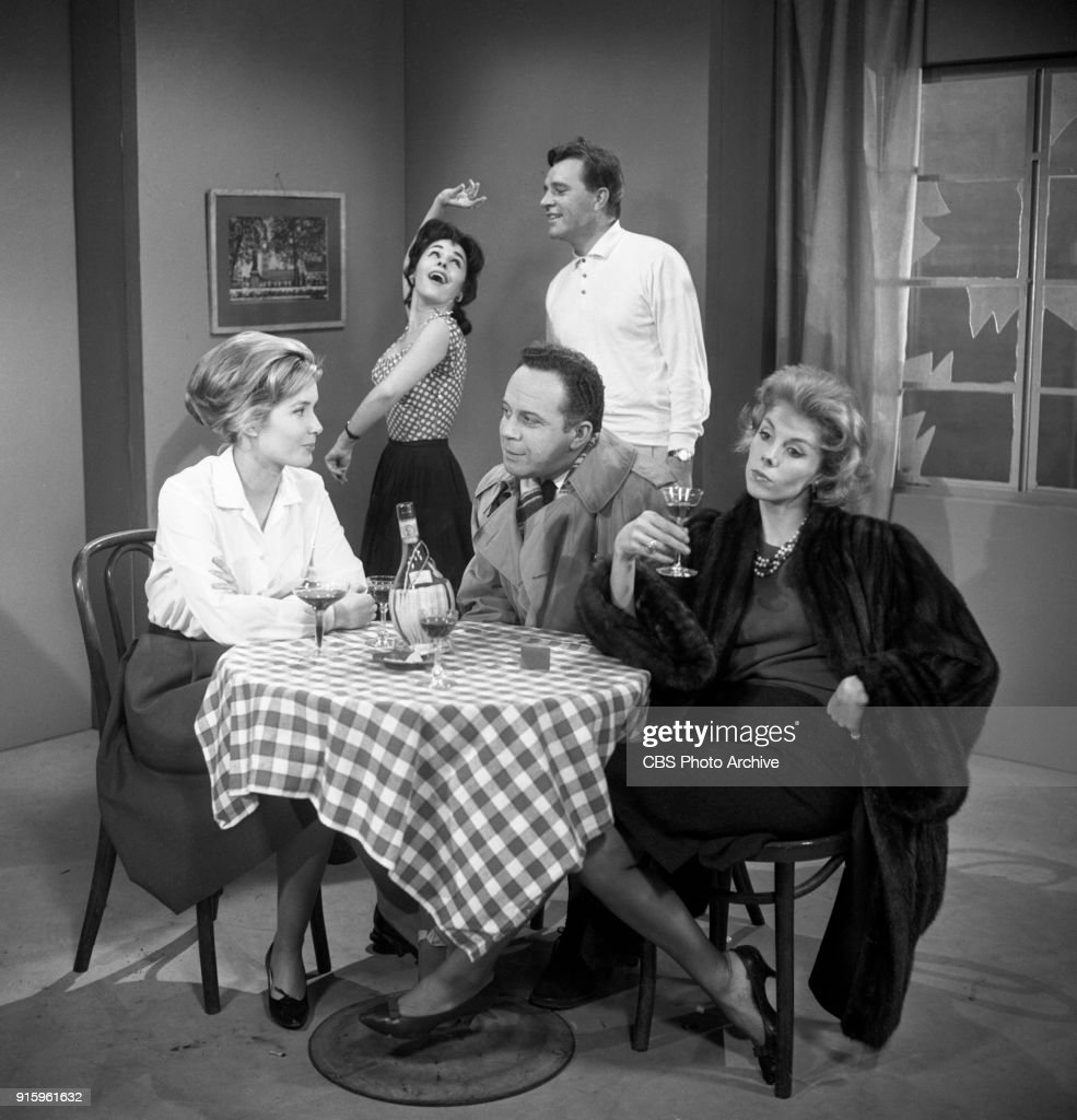 CBS television dramatic anthology series, Buick Electra Playhouse features a television adaptation of Ernest Hemingways The Fifth Column. Pictured from left is Sally Ann Howes (as Dorothy Bridges), Elisa Loti (as Anita), George Rose (as Preston), Richard Burton (as Philip Rawlings), and Betsy von Furstenberg (as Dorothy Fisher). Image dated January 11, 1960. New York, NY. Originally broadcast January 29, 1960.