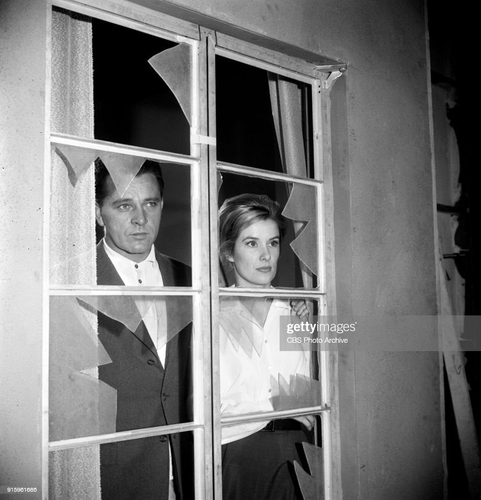 CBS television dramatic anthology series, Buick Electra Playhouse features a television adaptation of Ernest Hemingways The Fifth Column. Pictured from left is Richard Burton (as Philip Rawlings) and Sally Ann Howes (as Dorothy Bridges). Image dated January 11, 1960. New York, NY. Originally broadcast January 29, 1960.