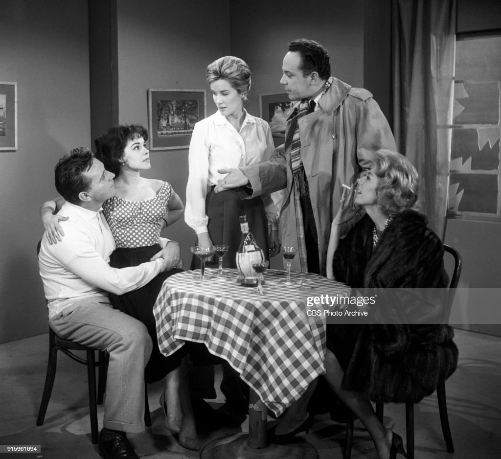 CBS television dramatic anthology series, Buick Electra Playhouse features a television adaptation of Ernest Hemingways The Fifth Column. Pictured from left is Richard Burton (as Philip Rawlings), Elisa Loti (as Anita), Sally Ann Howes (as Dorothy Bridges), George Rose (as Preston) and Betsy von Furstenberg (as Dorothy Fisher). Image dated January 11, 1960. New York, NY. Originally broadcast January 29, 1960.
