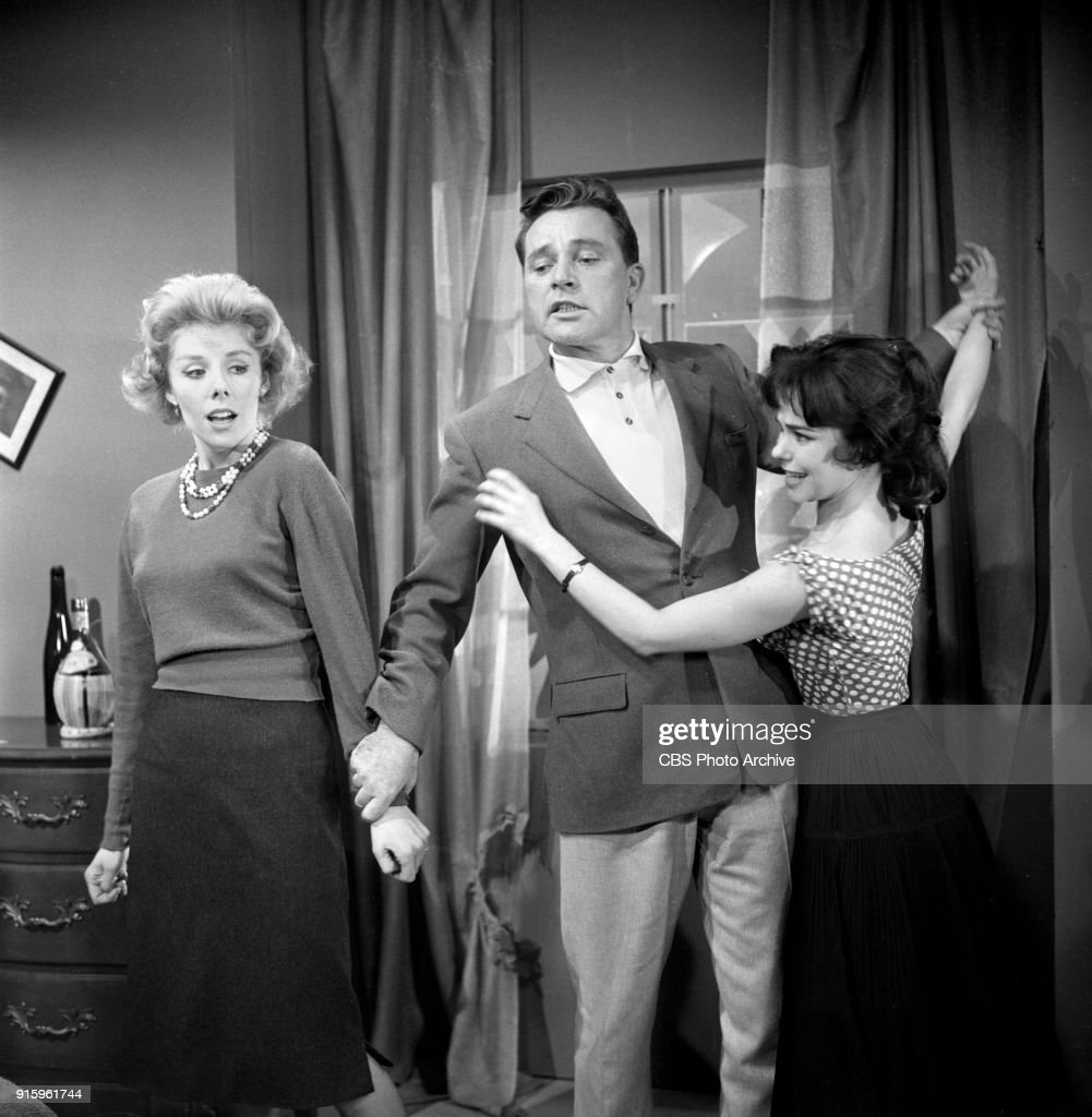 CBS television dramatic anthology series, Buick Electra Playhouse features a television adaptation of Ernest Hemingways The Fifth Column. From left: Betsy von Furstenberg (as Dorothy Fisher), Richard Burton (as Philip Rawlings), Elisa Loti (as Anita). Image dated January 11, 1960. New York, NY. Originally broadcast January 29, 1960.