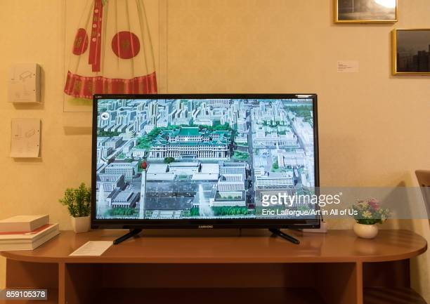Television during the exhibition Pyongyang sallim at architecture biennale showing a north Korean apartment replica National Capital Area Seoul South...