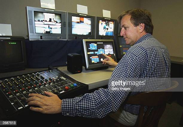 Television engineer for the City of Virginia Beach, Richard Dyer, runs a test of the closed cuircuit TV system in courtroon number 10 October 13,...