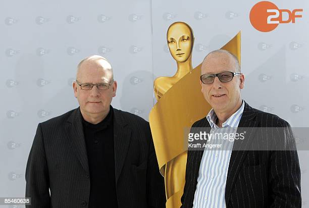 ZDF television entertainment head Manfred Teubner and artistic director HansChristoph Blumenberg pose during the photo call of the German Movie Award...