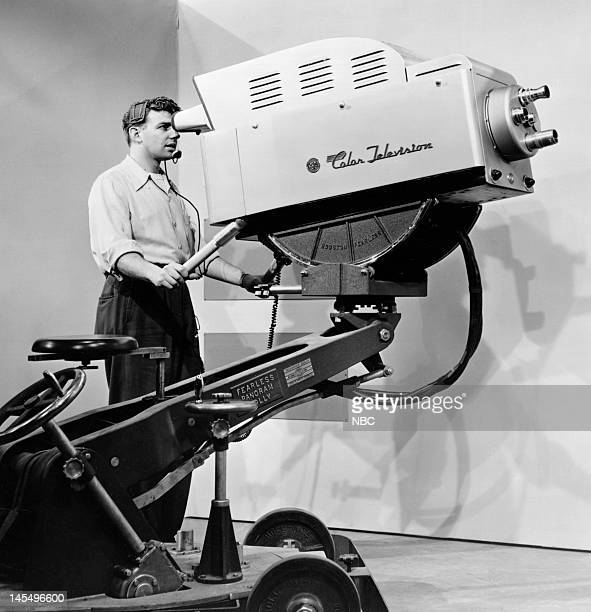 Television Equipment Cameras Pictured NBC Camera operator Jerry Weiss during the early 1950s when compatible color broadcasts were introduced in...