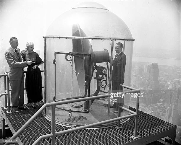 Transmitters Pictured Unknown actress Kyle MacDonnell engineer Robert Barnaby in 1949 on the rooftop of the RCA Building with the television...