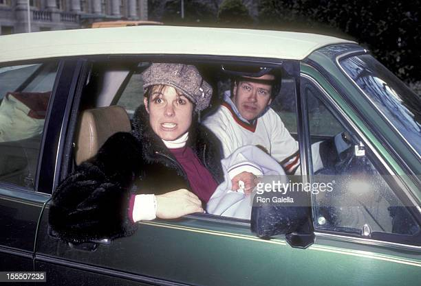 Television executive Dick Ebersol actress Susan Saint James and newborn son Charles Ebersol on January 3 1983 leave the Charlotte Hungerford Hospital...