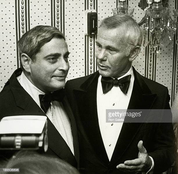 Television Executive Fred Silverman and actor Johnny Carson attend Friar's Club Entertainer of the Year Salute to Johnny Carson on May 6 1979 at the...