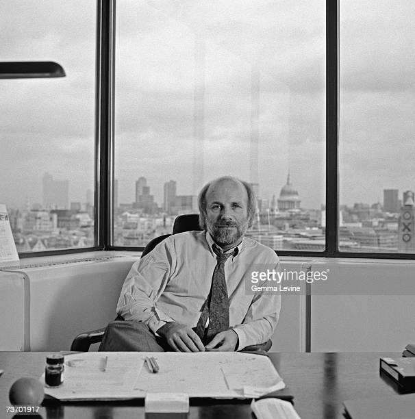Television executive Greg Dyke in his office in London circa 1990
