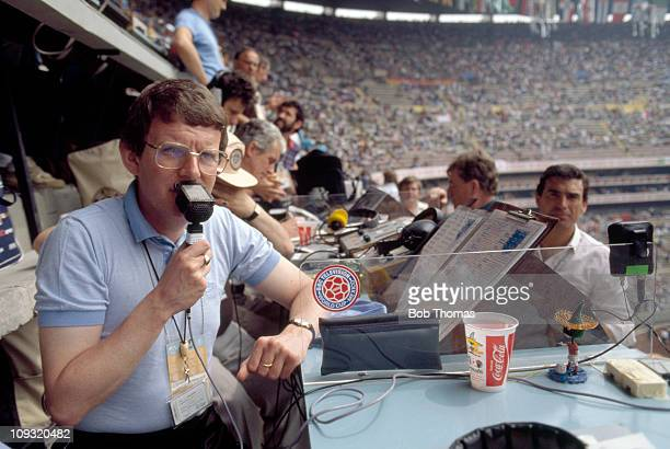 BBC Television Football Commentator John Motson working in the Azteca Stadium in Mexico City prior to the opening match of the 1986 World Cup Finals...