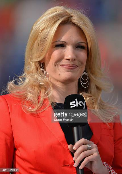 Television football presenter Jessica Kastrop looks on during the Bundesliga match between Hannover 96 and Werder Bremen at HDIArena on March 23 2014...