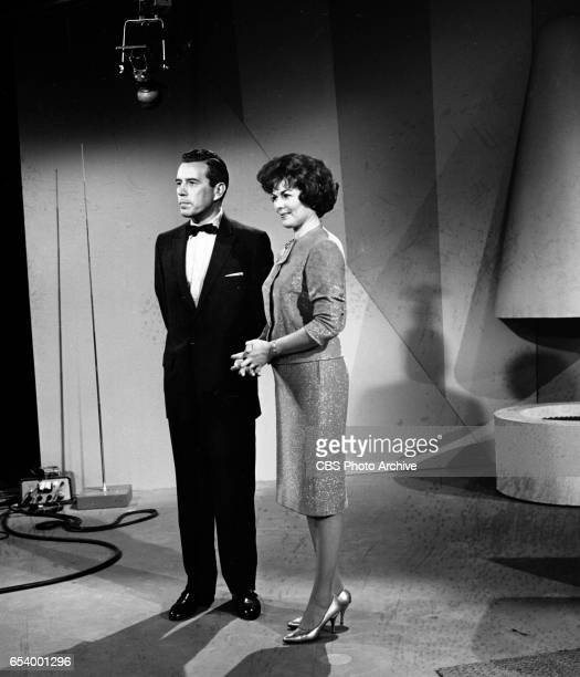 CBS television game show Stump the Stars Features from left John Forsythe and Barbara Hale Image dated January 11 1963
