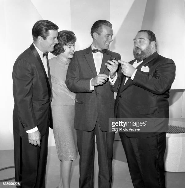 CBS television game show Stump the Stars Features from left Richard Long Barbara Hale John Forsythe and Sebastian Cabot Image dated January 11 1963