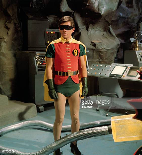 Television handout of Burt Ward as Robin Batman's loyal sidekick and fellow crime fighter Robin is shown in the Batcave on the set of Batman with a...