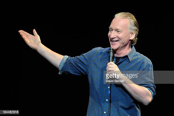 Television host and comedian Bill Maher performs at The Pearl concert theater at the Palms Casino Resort on March 23 2013 in Las Vegas Nevada
