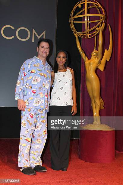 Television host and comedian Jimmy Kimmel and actress Kerry Washington speak onstage at the 64th Primetime Emmy Nominations held at Leonard H....