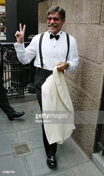 Television host and groom Geraldo Rivera arrives at the Central Synagogue to marry Erica Levy August 10 2003 in New York City