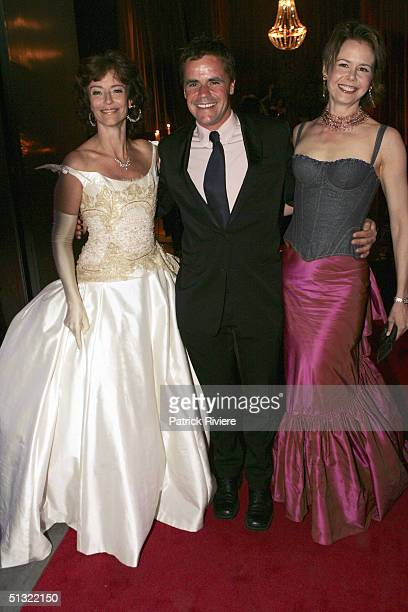 """Television host and Nicole Kidman's sister, Antonia Kidman, and her husband Angus Hawley are met by actress Rachel Ward on arrival at the """"Mother Of..."""