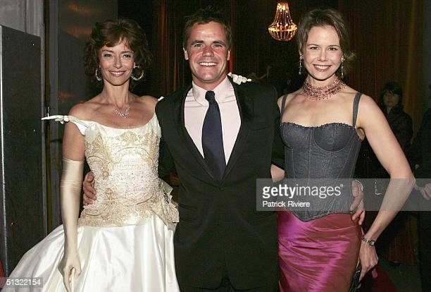 Television host and Nicole Kidman's sister Antonia Kidman and her husband Angus Hawley are met by actress Rachel Ward on arrival at the Mother Of All...
